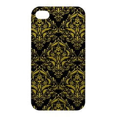 Damask1 Black Marble & Yellow Leather (r) Apple Iphone 4/4s Hardshell Case by trendistuff