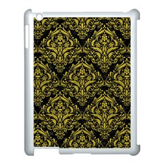 Damask1 Black Marble & Yellow Leather (r) Apple Ipad 3/4 Case (white) by trendistuff
