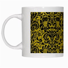 Damask2 Black Marble & Yellow Leather White Mugs