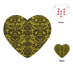 Damask2 Black Marble & Yellow Leather Playing Cards (heart)  by trendistuff