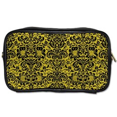 Damask2 Black Marble & Yellow Leather Toiletries Bags 2 Side by trendistuff