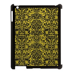 Damask2 Black Marble & Yellow Leather Apple Ipad 3/4 Case (black) by trendistuff
