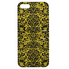 Damask2 Black Marble & Yellow Leather Apple Iphone 5 Hardshell Case With Stand by trendistuff