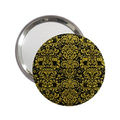 Damask2 Black Marble & Yellow Leather (r) 2 25  Handbag Mirrors