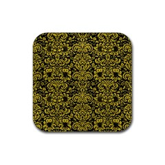 Damask2 Black Marble & Yellow Leather (r) Rubber Square Coaster (4 Pack)  by trendistuff