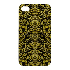 Damask2 Black Marble & Yellow Leather (r) Apple Iphone 4/4s Hardshell Case by trendistuff