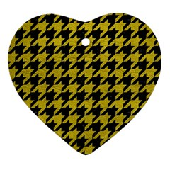 Houndstooth1 Black Marble & Yellow Leather Ornament (heart) by trendistuff