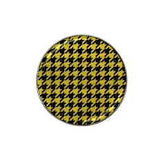 Houndstooth1 Black Marble & Yellow Leather Hat Clip Ball Marker (10 Pack) by trendistuff