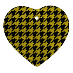 Houndstooth1 Black Marble & Yellow Leather Heart Ornament (two Sides) by trendistuff