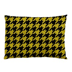 Houndstooth1 Black Marble & Yellow Leather Pillow Case (two Sides) by trendistuff