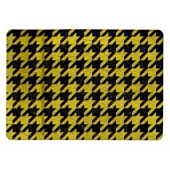 Houndstooth1 Black Marble & Yellow Leather Samsung Galaxy Tab 10 1  P7500 Flip Case