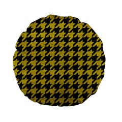 Houndstooth1 Black Marble & Yellow Leather Standard 15  Premium Flano Round Cushions by trendistuff