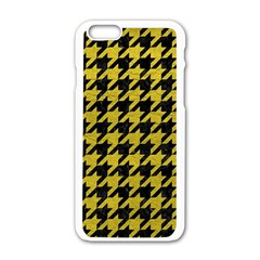 Houndstooth1 Black Marble & Yellow Leather Apple Iphone 6/6s White Enamel Case