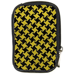 Houndstooth2 Black Marble & Yellow Leather Compact Camera Cases by trendistuff