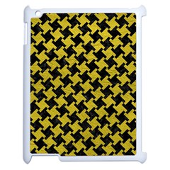 Houndstooth2 Black Marble & Yellow Leather Apple Ipad 2 Case (white) by trendistuff