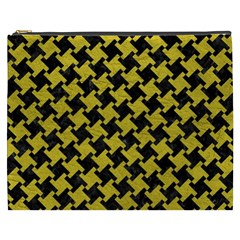 Houndstooth2 Black Marble & Yellow Leather Cosmetic Bag (xxxl)
