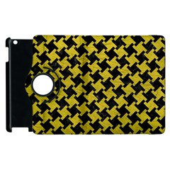 Houndstooth2 Black Marble & Yellow Leather Apple Ipad 2 Flip 360 Case by trendistuff