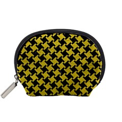 Houndstooth2 Black Marble & Yellow Leather Accessory Pouches (small)  by trendistuff