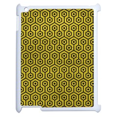 Hexagon1 Black Marble & Yellow Leather Apple Ipad 2 Case (white) by trendistuff