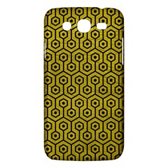 Hexagon1 Black Marble & Yellow Leather Samsung Galaxy Mega 5 8 I9152 Hardshell Case