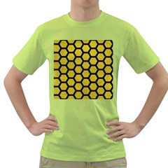 Hexagon2 Black Marble & Yellow Leather Green T Shirt by trendistuff