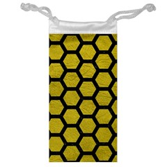 Hexagon2 Black Marble & Yellow Leather Jewelry Bag by trendistuff