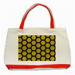 Hexagon2 Black Marble & Yellow Leather Classic Tote Bag (red) by trendistuff
