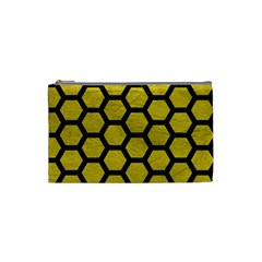 Hexagon2 Black Marble & Yellow Leather Cosmetic Bag (small)  by trendistuff