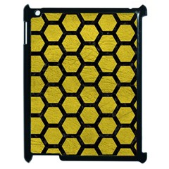Hexagon2 Black Marble & Yellow Leather Apple Ipad 2 Case (black) by trendistuff