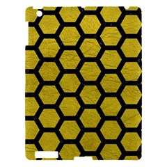Hexagon2 Black Marble & Yellow Leather Apple Ipad 3/4 Hardshell Case by trendistuff