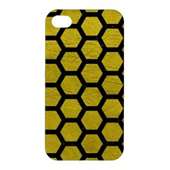 Hexagon2 Black Marble & Yellow Leather Apple Iphone 4/4s Premium Hardshell Case by trendistuff
