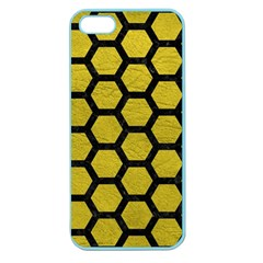 Hexagon2 Black Marble & Yellow Leather Apple Seamless Iphone 5 Case (color)