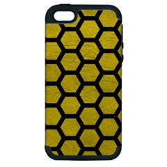 Hexagon2 Black Marble & Yellow Leather Apple Iphone 5 Hardshell Case (pc+silicone) by trendistuff