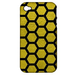 Hexagon2 Black Marble & Yellow Leather Apple Iphone 4/4s Hardshell Case (pc+silicone) by trendistuff