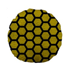 Hexagon2 Black Marble & Yellow Leather Standard 15  Premium Round Cushions by trendistuff