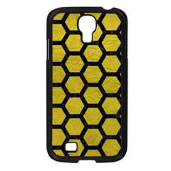 Hexagon2 Black Marble & Yellow Leather Samsung Galaxy S4 I9500/ I9505 Case (black) by trendistuff