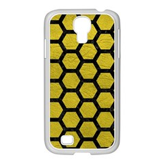 Hexagon2 Black Marble & Yellow Leather Samsung Galaxy S4 I9500/ I9505 Case (white) by trendistuff