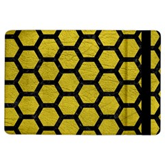 Hexagon2 Black Marble & Yellow Leather Ipad Air Flip by trendistuff