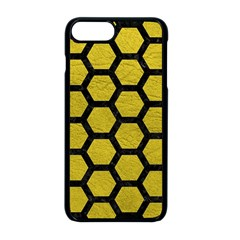 Hexagon2 Black Marble & Yellow Leather Apple Iphone 8 Plus Seamless Case (black) by trendistuff