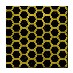 Hexagon2 Black Marble & Yellow Leather (r) Tile Coasters by trendistuff