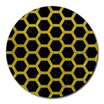 HEXAGON2 BLACK MARBLE & YELLOW LEATHER (R) Round Mousepads