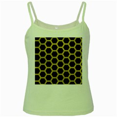 Hexagon2 Black Marble & Yellow Leather (r) Green Spaghetti Tank by trendistuff