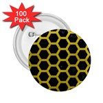 HEXAGON2 BLACK MARBLE & YELLOW LEATHER (R) 2.25  Buttons (100 pack)