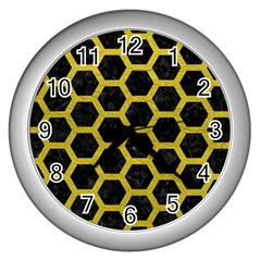 Hexagon2 Black Marble & Yellow Leather (r) Wall Clocks (silver)  by trendistuff