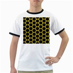 HEXAGON2 BLACK MARBLE & YELLOW LEATHER (R) Ringer T-Shirts
