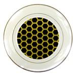 HEXAGON2 BLACK MARBLE & YELLOW LEATHER (R) Porcelain Plates