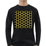 HEXAGON2 BLACK MARBLE & YELLOW LEATHER (R) Long Sleeve Dark T-Shirts