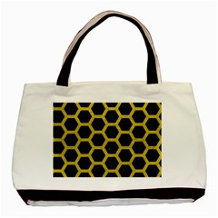 Hexagon2 Black Marble & Yellow Leather (r) Basic Tote Bag by trendistuff