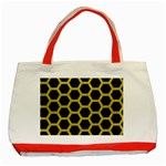HEXAGON2 BLACK MARBLE & YELLOW LEATHER (R) Classic Tote Bag (Red)