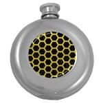 HEXAGON2 BLACK MARBLE & YELLOW LEATHER (R) Round Hip Flask (5 oz)